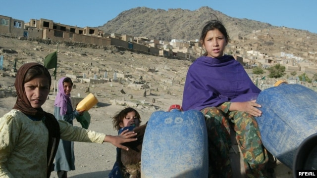 Children carry drinking water by donkey in Kabul.