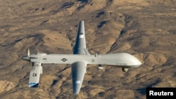 "An unmanned U.S. ""Predator"" drone aircraft."