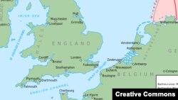 نقشهای از منطقه کانال مانش بین فرانسه و بریتانیا