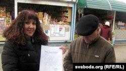 Сьвятлана Пятроўская сваю паштоўку напісала адной зь першых.