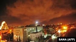 Ракетные удары по Дамаску (фото официального сирийского информагентства SANA), 14 апреля 2018 г.