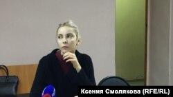 Мария Мотузная, обвиненная в экстремизме за картинки в соцсети, в суде (архивное фото)
