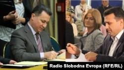 Лидерите на ВМРО-ДПМНЕ и на СДСМ, Никола Груевски и Зоран Заев. Комбинирана фотографија