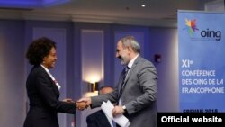 Armenian Prime Minister Nikol Pashinian greets Secretary-General of the International Organization of the Francophonie Michaelle Jean in Yerevan, 12 September 2018