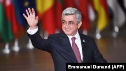 BELGIUM -- Armenian President Serzh Sarkisian arrives for an EU Eastern Partnership summit with six eastern partner countries at the European Council in Brussels, November 24, 2017