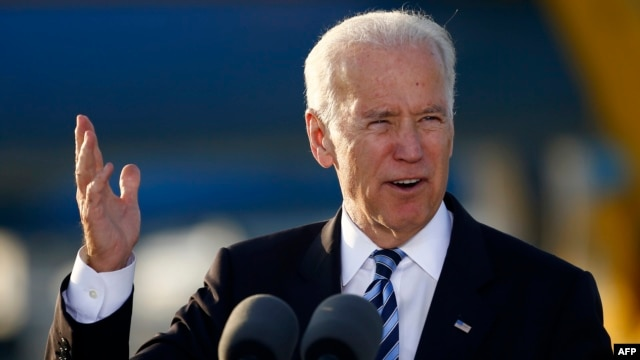 U.S. Vice President Joe Biden speaks after arriving at Larnaca airport in Cyprus on May 21.