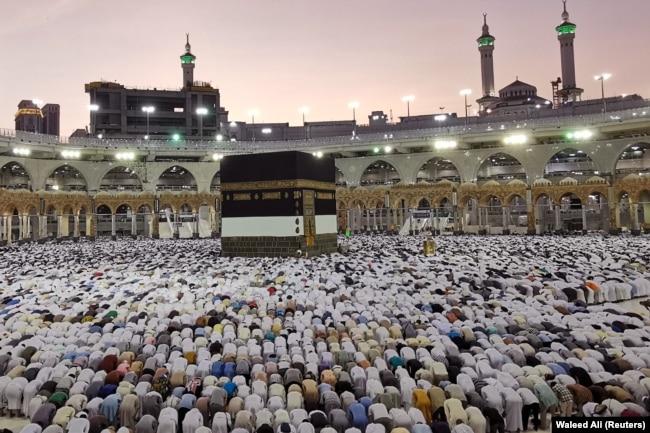 Паломники в Заповедной мечети в августе 2019 года во время хаджа