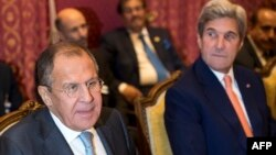 Russian Foreign Minister Sergei Lavrov (left) and then-U.S. Secretary of State John Kerry in 2016