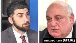 Глава Государственной контрольной службы Давид Санасарян (слева) и ректор ЕГУ Арам Симонян