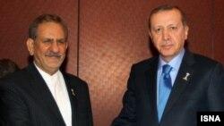 دیدار اسحاق جهانگیری و رجب طیب اردوغان در عشقآباد