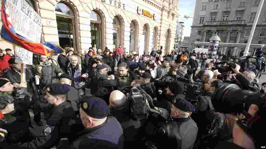 Hrvatska - Protesti protiv EU u centru Zagreba, 21. januar 2012.