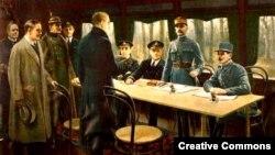 Представители держав Антанты и побежденной Германии подписывают перемирие в Компьенском лесу, 11 ноября 1918