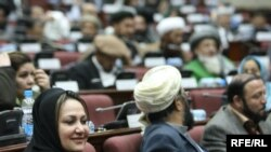 Afghan parliament members attend a voting session on the cabinet in Kabul on January 16.