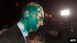 "Ukrainian opposition leader Aseniy Yatsenyuk speaks to journalists after he was doused with medical ""brilliant green"" on February 12 after he left the Central Clinical Hospital in Kharkiv"