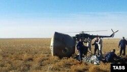 """""""Союз МС-10"""" қонған жер. Жезқазған аймағы. 11 қазан 2018 жыл."""