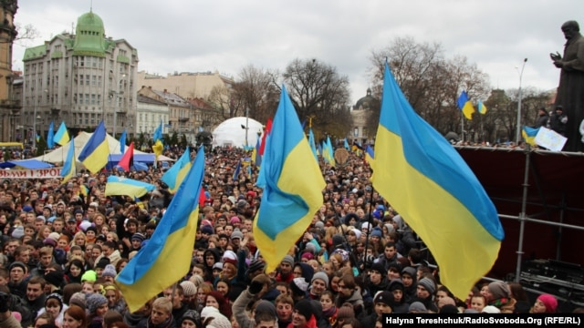 The western city of Lviv has emerged a center of the student-led pro-EU rallies.