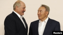 "Kazakh President Nursultan Nazarbaev (right) agrees with his Belarusian counterpart Alyaksandr Lukashenka that CSTO members must learn from the recent events of the ""Arab Spring."""