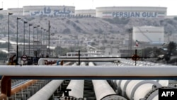 Iranian oil export pipelines at a facility on Khark Island in the Persian Gulf.