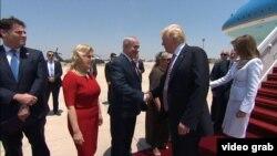 Իսրայելի բարձրաստիճան պաշտոնյաները Բեն Գուրիոն օդանավակայանում դիմավորում են ԱՄՆ նախագահի գլխավորած պատվիրակությանը, 22-ը մայիսի, 2017թ․