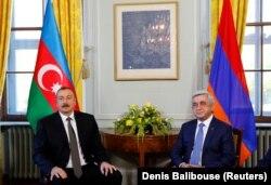 Ilham Əliyev və Serj Sarkisyan, Cenevrə 16 oktyabr, 2017