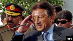 Pakistan's Pervez Musharraf saluted as he left the Pakistani presidency following his resignation in August 2008.