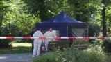 German investigators search the site where Chechen exile Zelimkhan Khangoshvili was shot dead in a Berlin park on August 23.