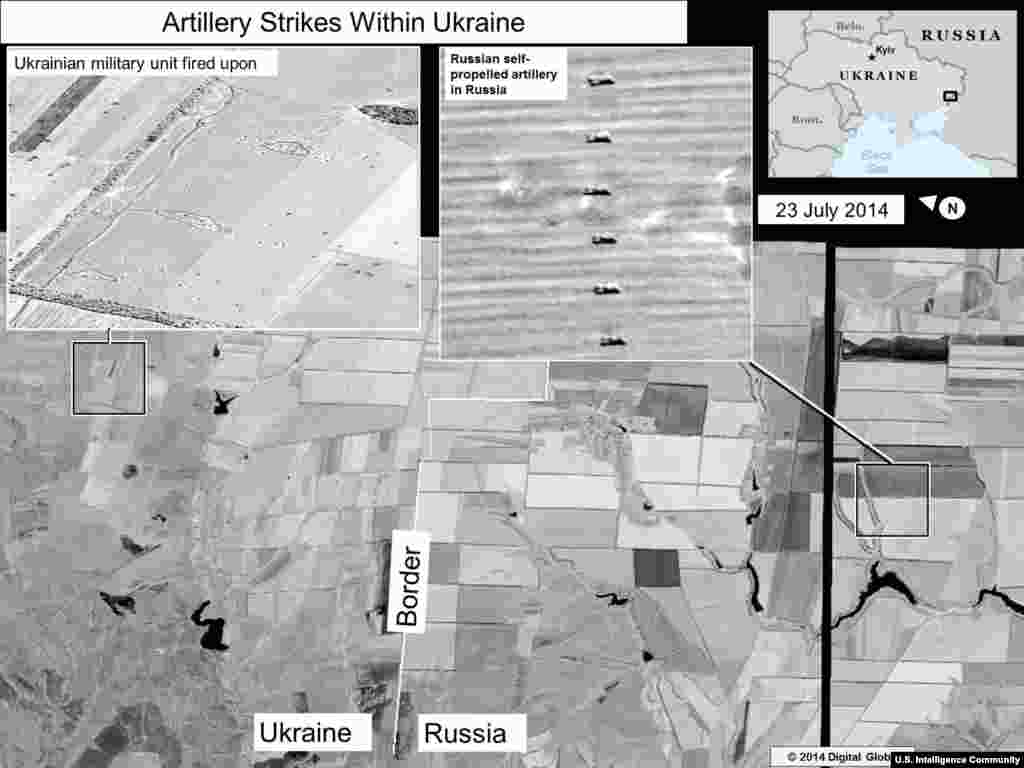 Artillery Strikes Within Ukraine #1. Information from the U.S. Director of National Intelligence: This slide shows self-propelled artillery only found in Russian military units, on the Russian side of the border, oriented in the direction of a Ukrainian military unit within Ukraine. The pattern of crater impacts near the Ukrainian military unit indicates strikes from artillery fired from self-propelled or towed artillery, vice multiple rocket launchers.