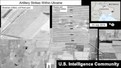 The U.S. State Department on July 27 issued satellite images that it says clearly indicate artillery strikes on Ukrainian military positions in eastern Ukraine were fired from across the border in Russian territory. The dates on the image are as recent as July 25-26. The captions accompanying these photos are text issued by the office of the U.S. Director of National Intelligence.