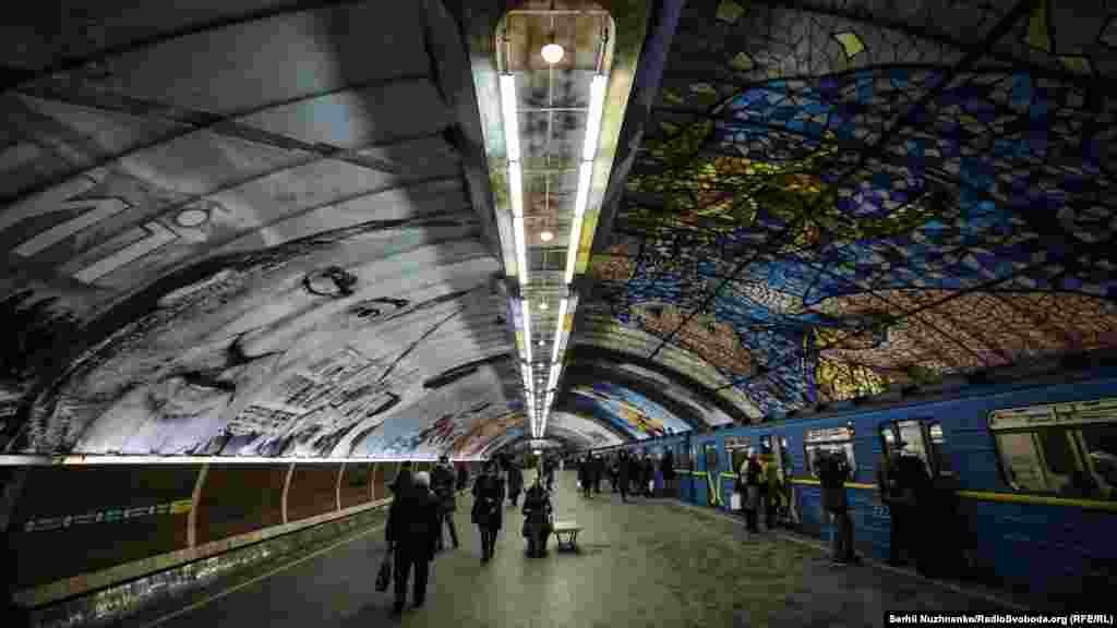 Eight murals by international artists were painted onto the station's arched ceiling over the past 11 weeks.