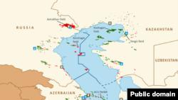 Мапа Каспійського моря