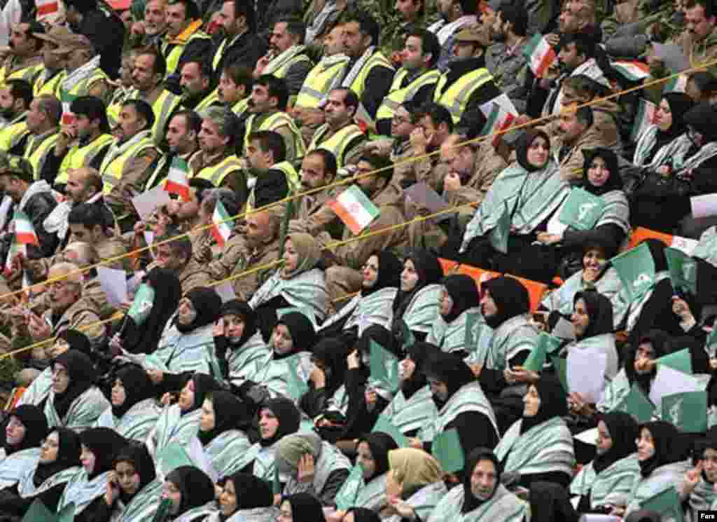 Iran -- men and women sit in segregated sections during a meeting of Basij activists, Tehran, fall 2006