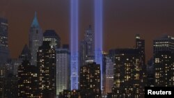 "U.S. -- The ""Tribute in Lights"" illuminates the sky over lower Manhattan on the 10th anniversary of the 9/11 attacks on the World Trade Center in New York, 11Sep2011"