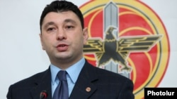Armenia - Eduard Sharmazanov, spokesman for the ruling Republican Party of Armenia, at a news conference, in Yerevan,19Dec2011.
