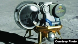 An artist's rendering of the Golden Spike moon lander