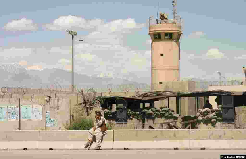 Outside Bagram Airfield, the biggest U.S. military base in Afghanistan.