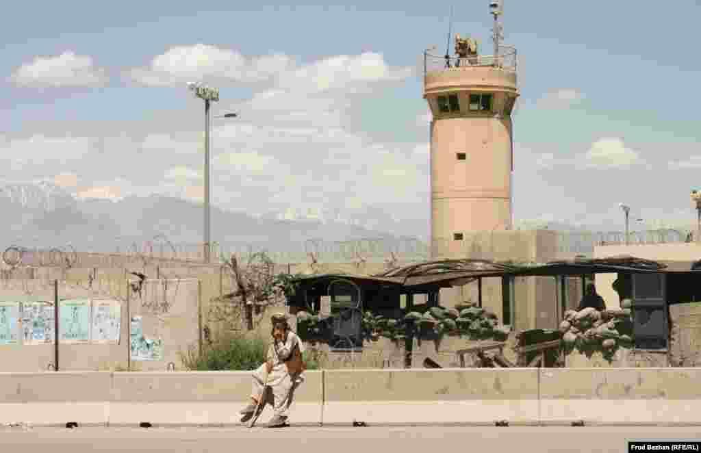 Outside Bagram Airfield, the biggest U.S. military base in Afghanistan.
