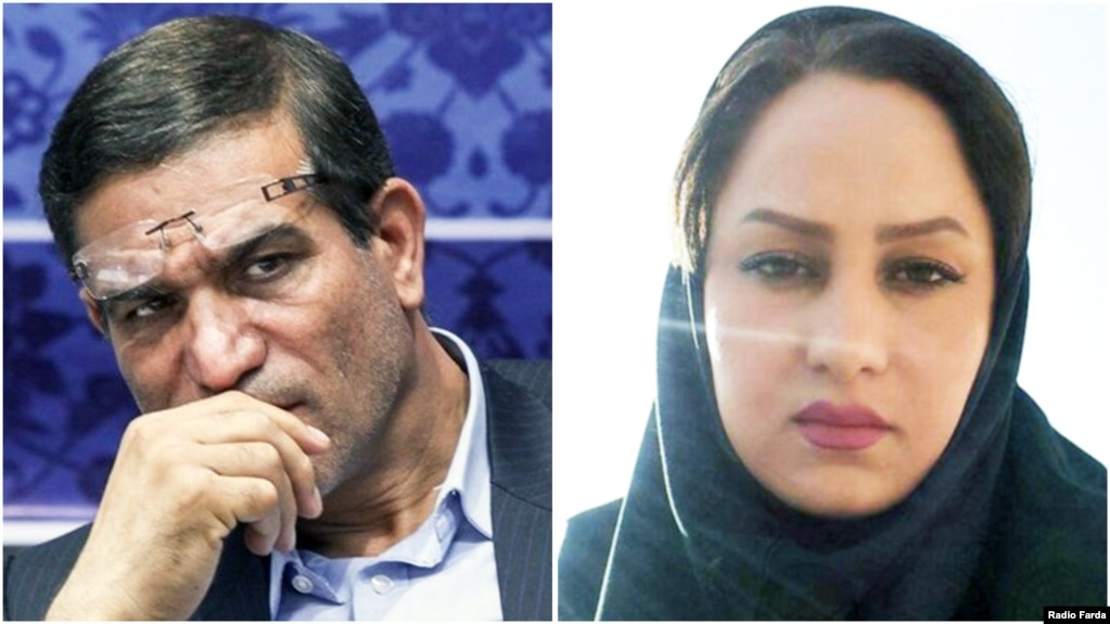 Former Iranian MP Salman Khodadadi (L), who's been accused of sexual misconduct and one of his alleged victims Zahra Navidpour.