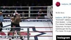 Бой между Русланом Чагаевым и Лукасом Брауном. Скриншот страницы Рамзана Кадырова в Instagram.
