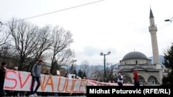 Сараево. Антиправительственная демонстрация в столице Боснии 27 февраля 2014 г.
