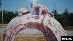"""Cкульптура """"Этнопарк Караганды"""", автор Айнабек Курымбаев. Темиртау, июнь 2010 года."""