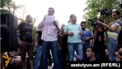 Armenia -- No To Plunder leader Vaghinak Shushanian addresses protesters on Marshal Bagramian Avenue, Yerevan, 28Jun2015