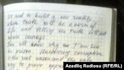 A photo of Khadija Ismayilova's letter from Kurakhani prison (click to enlarge)