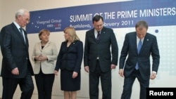 Participants at a summit of leaders of the Visegrad Group in Bratislava