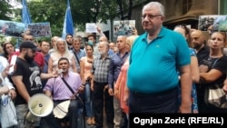 Vojislav Seselj, leader of Serbian Radical Party, protesting against a festival of Kosovar culture in Belgrade.