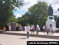 Екатерина Новикова с пикетом на городском празднике