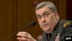 U.S. Army Lieutenant General Douglas Lute testifies before the Senate Armed Services Committee in Washington in June 2007.