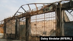A burned-out Uzbek cafe in the southern Kyrgyz city of Osh, one of the many businesses destroyed during the June violence.