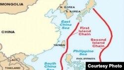 """Карта китайской """"офшорной оборонной стратегии"""""""