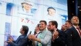 У виборчому штабі партії «Слуга народу» під час оголошення результатів екзит-полів. Київ, 21 липня 2019 року