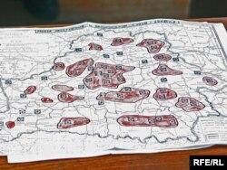 Мапа расстрэлаў і пахаваньняў рэпрэсаваных
